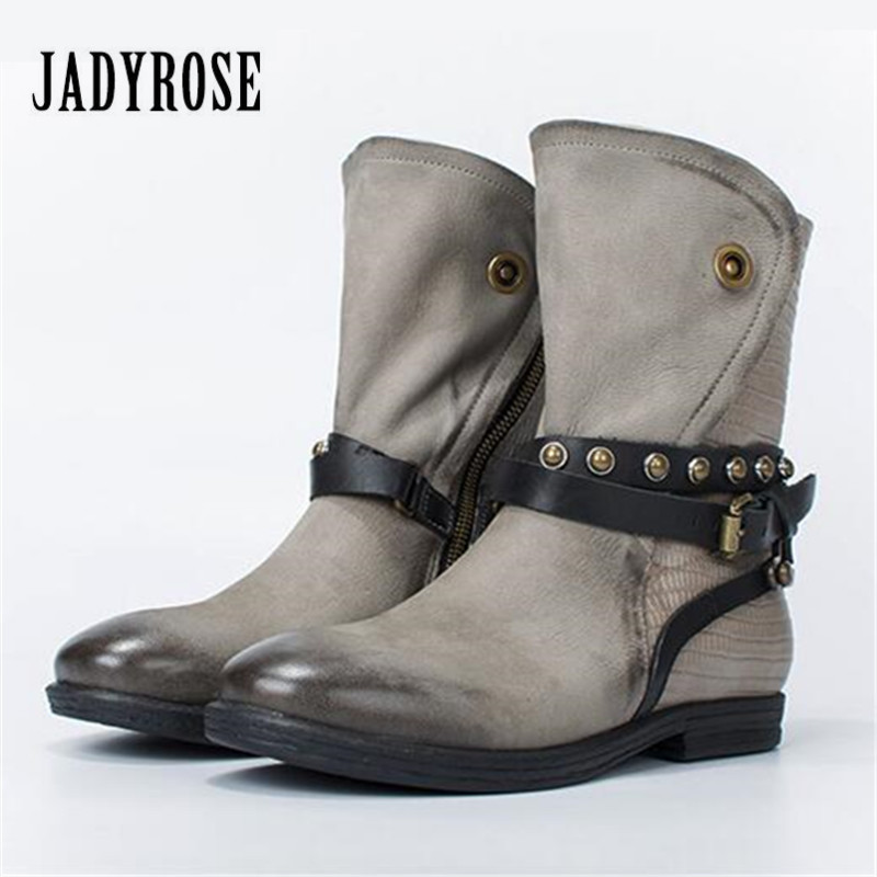 Jady Rose Casual Gray Women Ankle Boots Straps Genuine Leather Short Flat Botas Autumn Winter Female Platform Martin Boot jady rose ankle boots for women straps buckle genuine leather autumn boots platform short booties female flat rubber martin boot