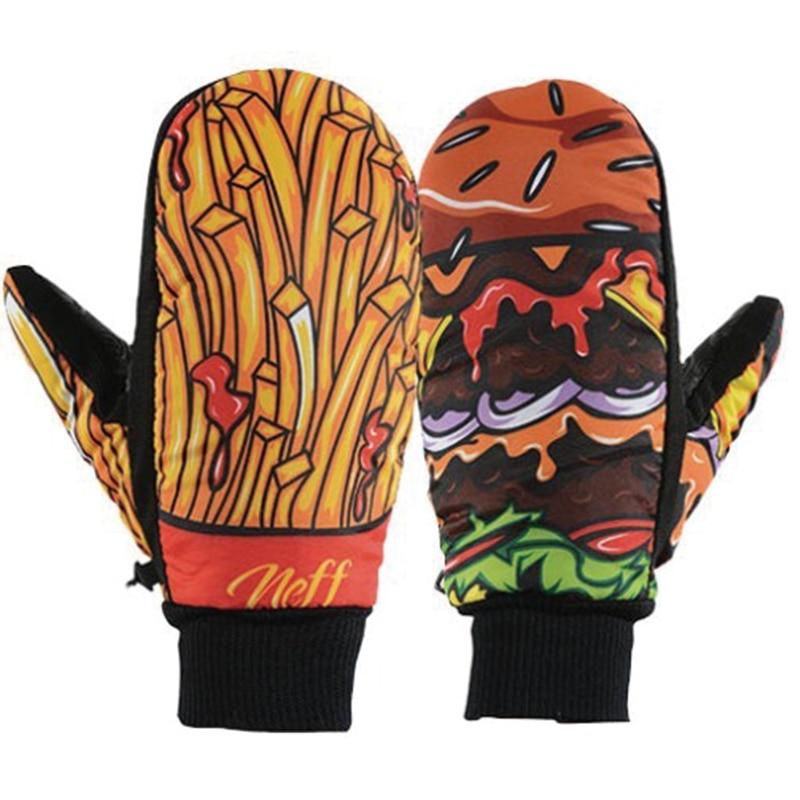 Patrones de dibujos animados impermeable guantes de esquí de las mujeres de los