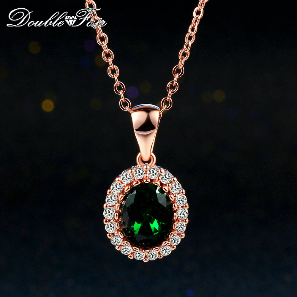 DFN247 Green Elegant Cubic Zirconia Rose Gold Pated Green Crystal Necklaces & Pendants Fashion Jewelry For Women colares joias