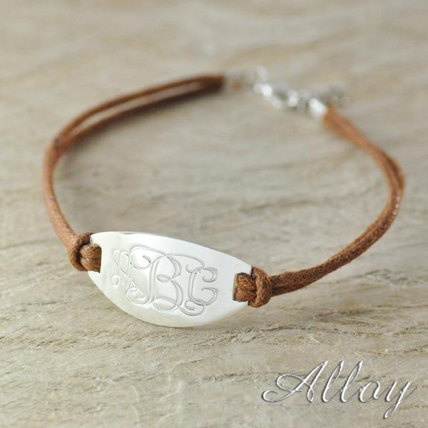 Alloy bracelet oval name bracelet,Custom monogram bracelet,colorful rope chain hot sale