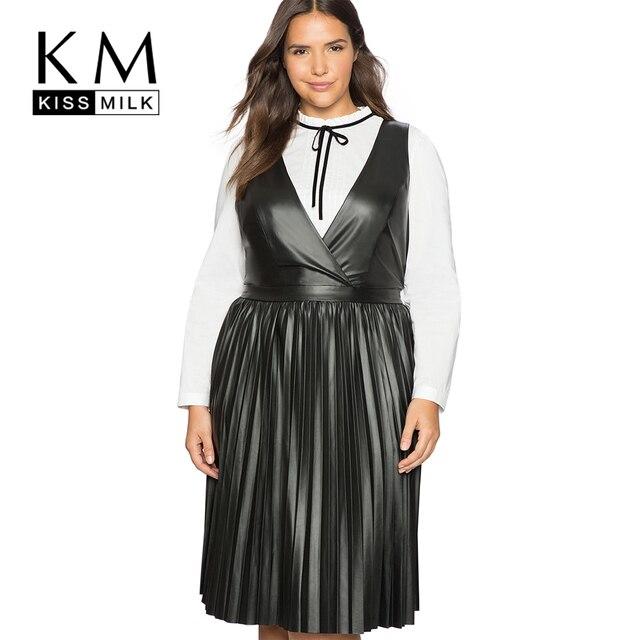 22e78e8547d Kissmilk Plus Size New Fashion Women Clothing Basic Streetwear Solid PU  Dress V-Neck Fold