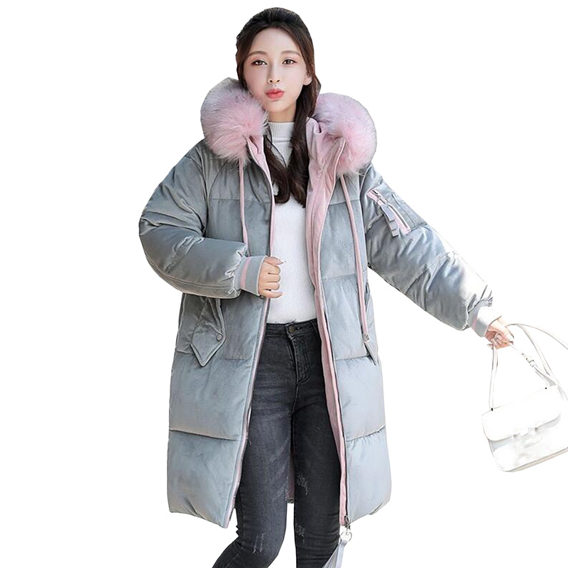 Thicken Plus Size Fur Collar Women Winter Jacket 2018 Fashion New Gold Velvet Hooded Warm Down Cotton Long Coat Casual   Parkas