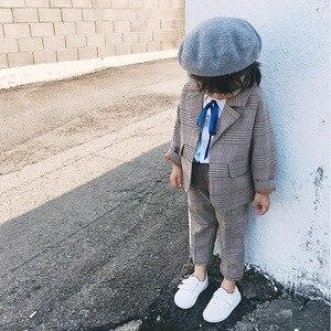 Image 3 - Spring Autumn Kids Blazer for Girls Casual Plaid Shirts Jacket Pants Toddler Girls Suits 2 3 4 5 6 Years Toddler Baby Clothing