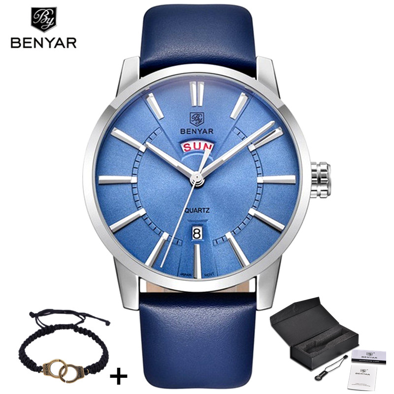 BENYAR Watch Men Luxury Brand Quartz Blue Watches Fashion Business Analog Male Leather Wristwatch Waterproof Clock Montre Homme xinge top brand luxury leather strap military watches male sport clock business 2017 quartz men fashion wrist watches xg1080