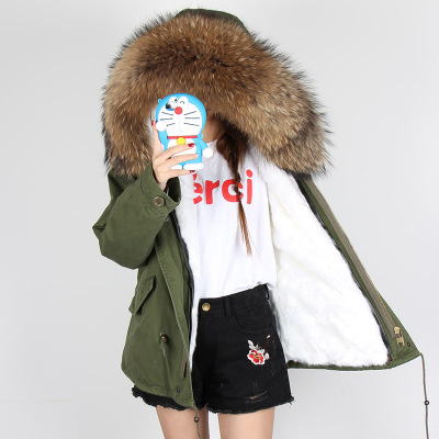 Winter Jacket coat Women 2017 new Army Green Parka with natural Real Raccoon Fur Collar Hooded thick warm faux Liner