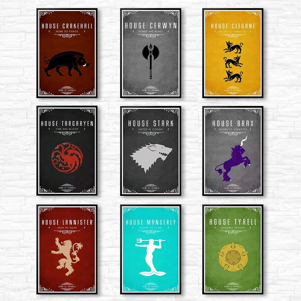 Game of Thrones Wall Art kraft paper Print House Targaryen Banner Poster Stark Painting Movie