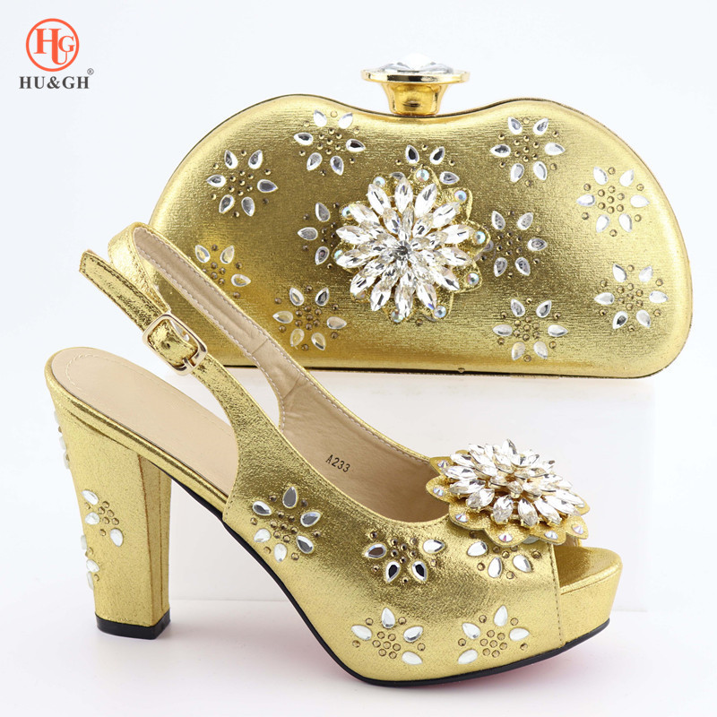 New Arrival Fashion Style Gold Shoes And Bag Set Newest African Women High Heels Pumps Matching Purse set Italian Wedding Party