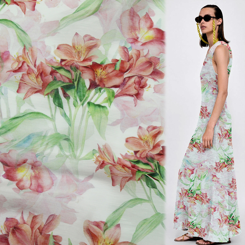Colorful garden and floral print silk and linen blended fabric 14momme,SLN071
