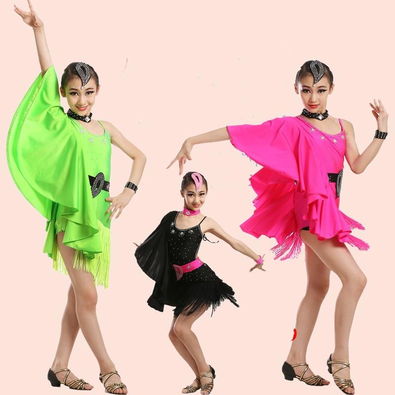 Girls Sexy Latin Dance Dress for Compeition Children Modern Ballroom Dance Dress Tango/waltz/chacha Dance Dress Dancewaer 89