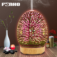 FUNHO 3D Glass Humidifier Aromatherapy Machine Ultrasonic Essential Oil Diffuser Air Cleaner Diffuser 7 Color LED Night Light