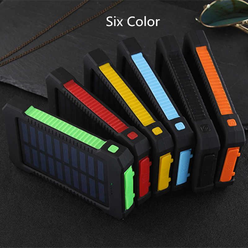 للماء الشمسية 30000mAh خزان طاقة يعمل بالطاقة الشمسية شاحن 2 منافذ USB الخارجية شاحن باوربانك لسامسونج مع مصباح ليد
