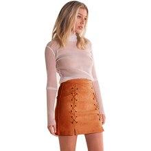 Moda mujeres cuero Suede lápiz falda invierno Cruz Alta cintura encaje  hasta faldas Zipper Split Short 940a57e125ad