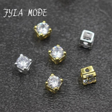 925 Sterling Silver Grade A Rhinestone Square Beads For Women Men Loose Jewelry DIY Design New Trend