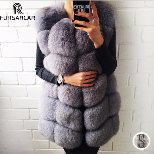 FURSARCAR Echte Fuchspelzmantel Frauen Winter Natrual Echtem Leder Pelzweste Mode Styles Weibliche Silm Lange Fuchspelz Weste Mantel