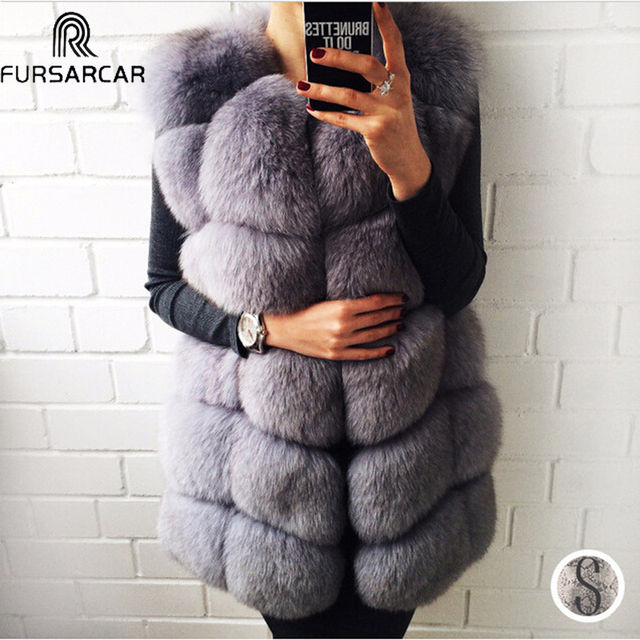 FURSARCAR Winter Real Fur Vest,Women Natrual Fox Fur Coat, 2018 New Female Jacekt Warm Thick Long Fur Vest Outwear Genuine Fur