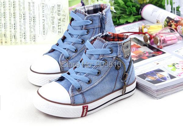 Niños zapatos de lona a la moda sneakers chicos zapatos para niñas zapatos para niños kids mezclilla cielo azul naranja azul oscuro