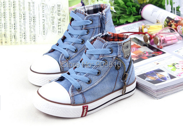 children canvas shoes fashion sneakers boys shoes for girls children shoes kids denim high sky blue orange dark blue
