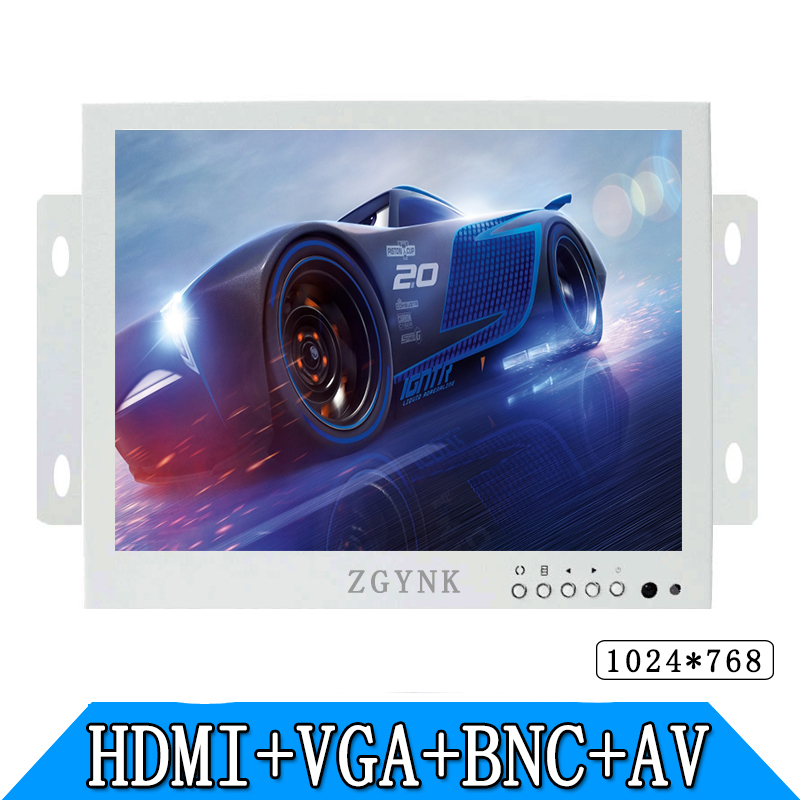 white 8 inch Open Frame Industrial monitor/metal monitor with VGA/AV/BNC/HDMI monitor zgynk 10 1 inch open frame industrial monitor metal monitor with vga av bnc hdmi monitor