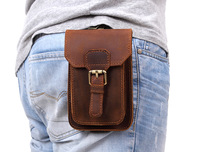 Brand Men Crazy Horse Genuine Leather Waist Bag Male Hook Fanny Waist Pack Belt Loop Hip