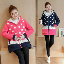 Plus Velvet Autumn/winter Maternity Sweater Fleece Maternity Hoodies Pregnancy Fleece Jacket Outerwear Maternity Clothing B411