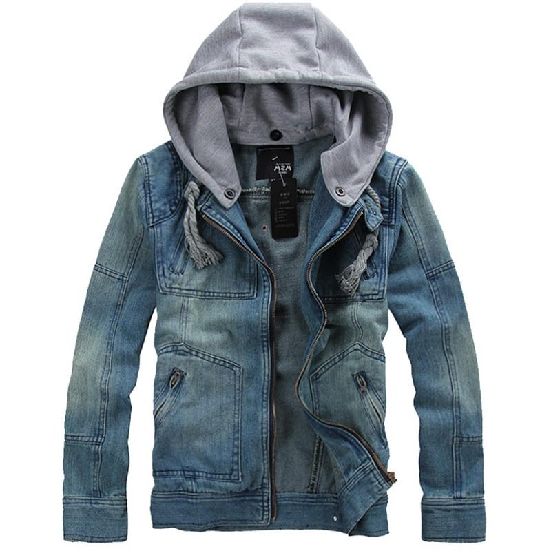 Человек Весна 2014 Новое поступление Корея Стиль Сгущает Хлопковые джинсы куртка мужчин XXXL XXXXL 5XL синий деним куртка с капюшоном для мужчин