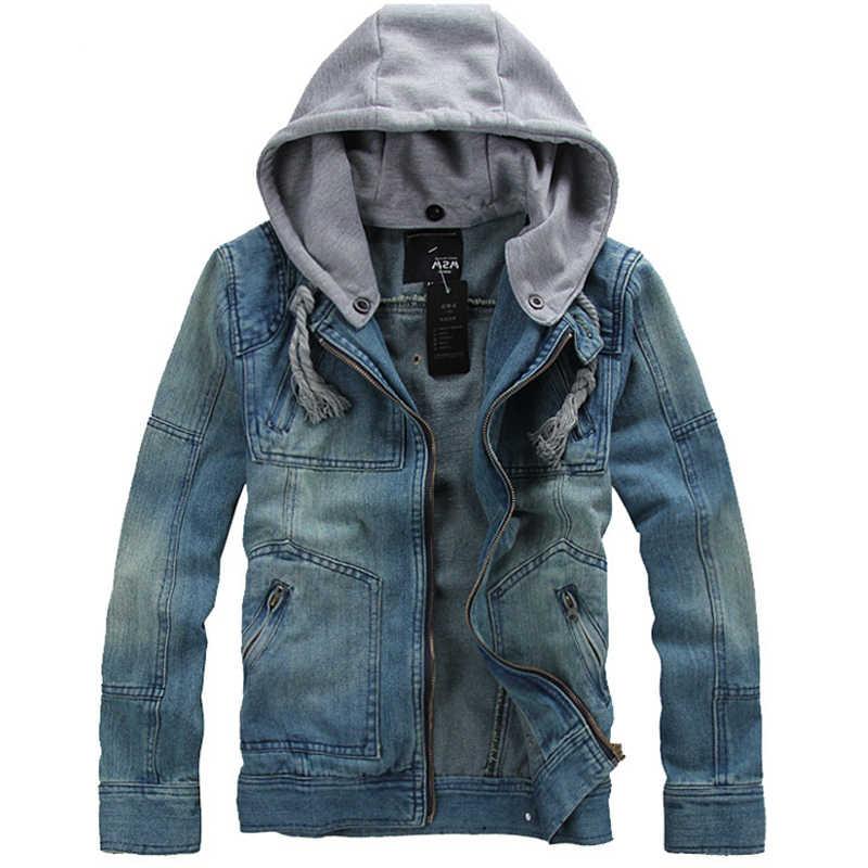 男春2014新しい到着韓国スタイル厚みのコットンジーンズジャケット男性xxxl xxxxl 5xlブルーデニムジャケット付きフード用男性
