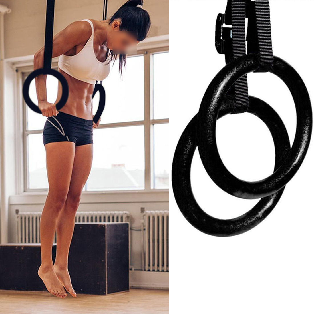 Hot Professional Adjustable Home Gymnastic Rings and Straps Fitness For Upper Body Strength Training Bodyweight Muscle Exercise wooden 28mm exercise hanging fitness gymnastic rings adjustable gym crossfit muscle strength training pull ups muscle ups
