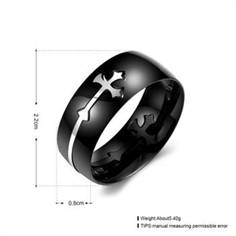 New Punk Rock Stainless Steel Mens Biker Rings Vintage Gothic Jewelry Silver Color Cross Ring Men
