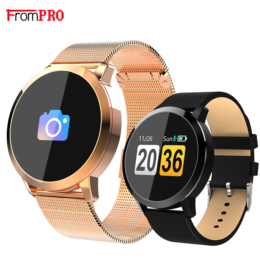 F18 SmartBand pulsera Color sangre oxígeno Monitor de ritmo cardíaco empuje información Bluetooth 4,0 reloj inteligente Q88 para Android ios banda