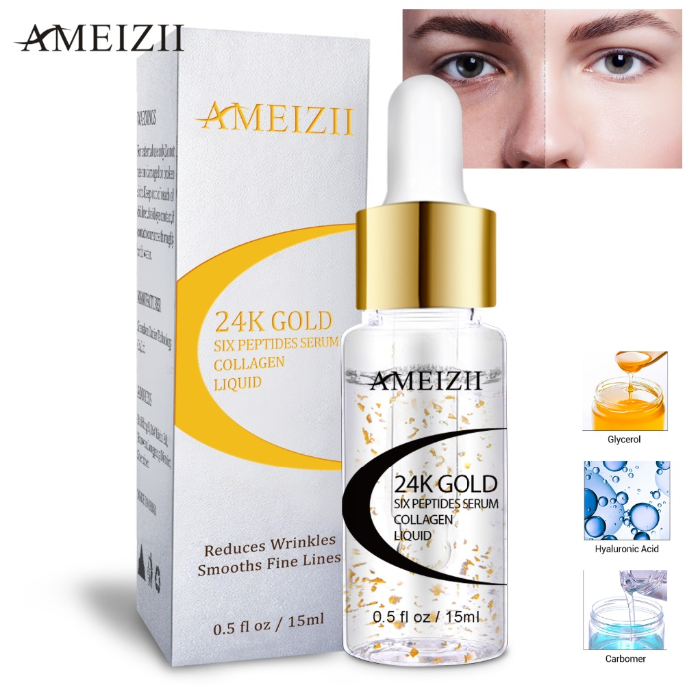 Image 3 - AMEIZII 24K Gold Six Peptides Hyaluronic Acid Serum Moisturizing Anti Wrinkle Whitening Skin Care Repair Essence Suero facial-in Serum from Beauty & Health