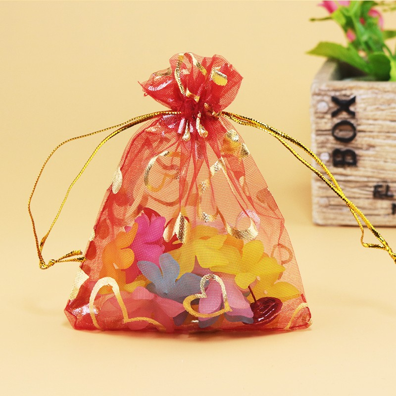 Wholesale Lots 9x12cm Heart Premium Organza Gift Bags Wedding Favor Chic Red