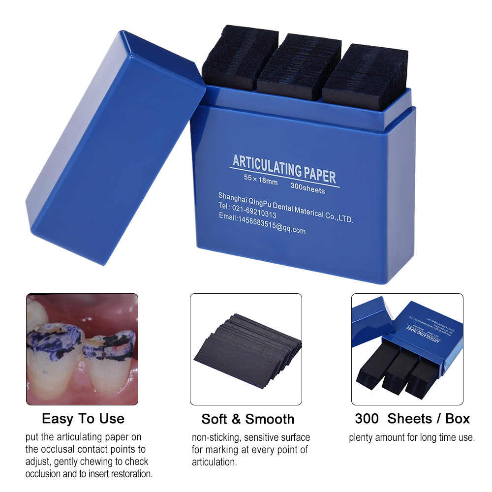 300 простыни/коробка артикуляционная бумага синие полоски товары ные стоматолог полости рта уход за зубами отбеливающий материал инструмент 55 * мм 18 мм