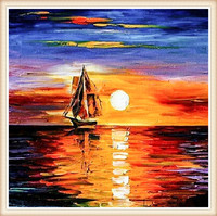 Sunset boats House Needlework 5D diamond embroidery full diamond home decor mosaic diy diamond painting square