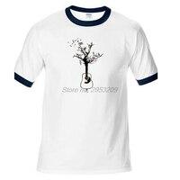 Guitar Playing Notes Music Tree Men T Shirts Crazy Tee Shirts Men White Raglan Sleeve Custom
