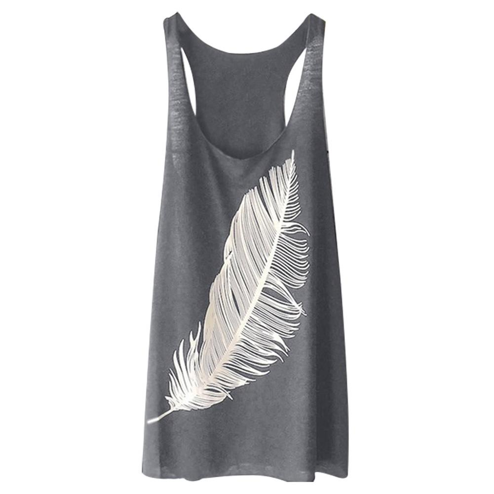 Plus Size Feather Print Casual Summer Women Vest O-Neck Sleeveless   Tank     Top