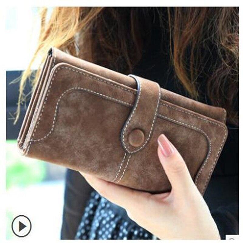 2019 Fashion Women Long Purse Clutch Retro Matte Stitching Pu Leather Casual Hasp Dollar Price Wallet Handbag Carteira