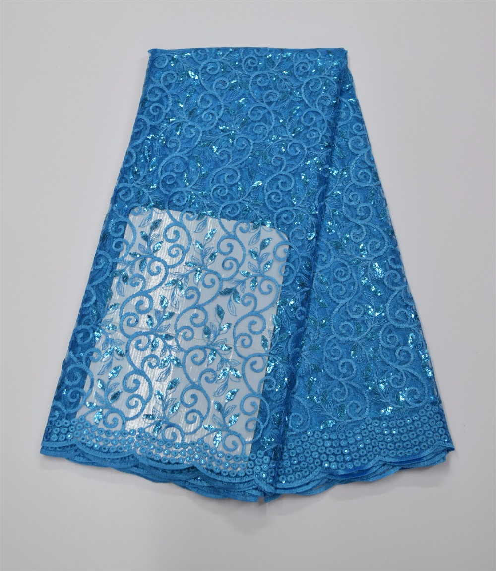 Latest Nigerian Laces 2016 High Quality sky blue Tulle Mesh French Embroidered Lace Cheap African Net