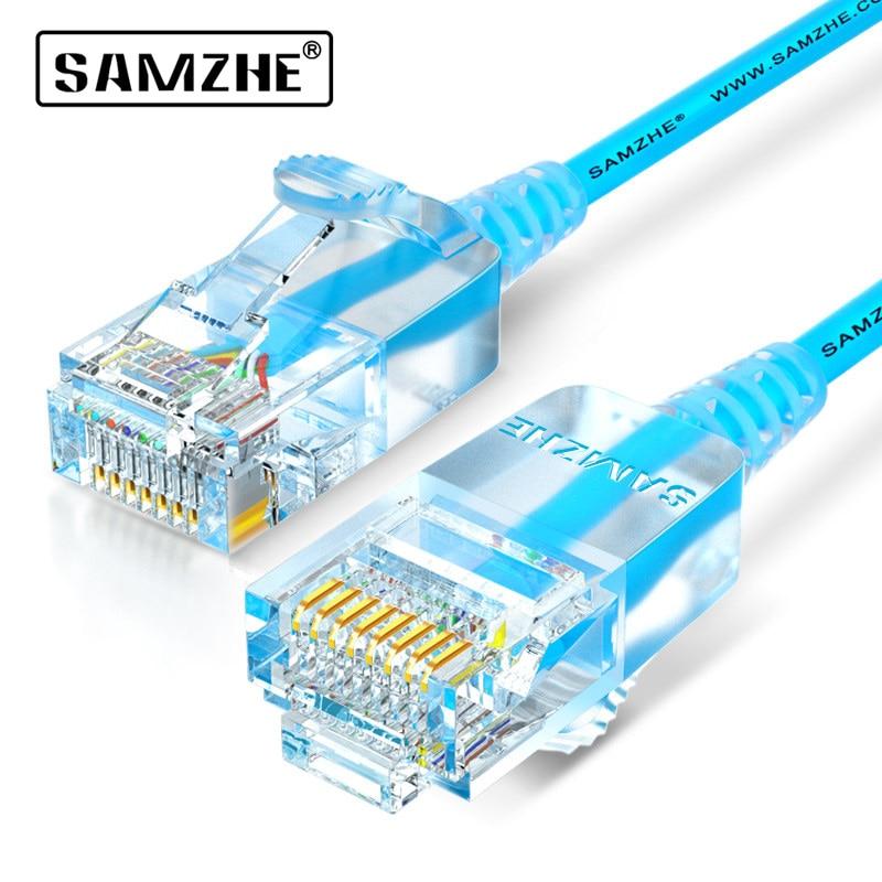 SAMZHE Cat6A Ultrafino Computador Ethernet Patch Cable-Slim RJ45, PS2, PS3, xbox 360 Cabos de Rede LAN 0.5m 1m 1.5m 2m 3m 5m 8m 10m