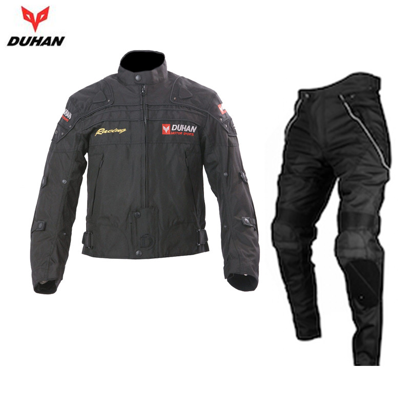 duhan mens windproof waterproof motocross off road racing jacket pants oxford cloth motorcycle riding clothing with protector