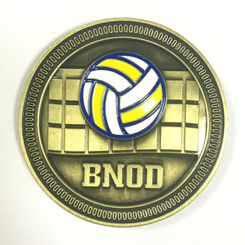 Custom volleyball match coin new brass 3D sports coin in Non currency Coins from Home Garden