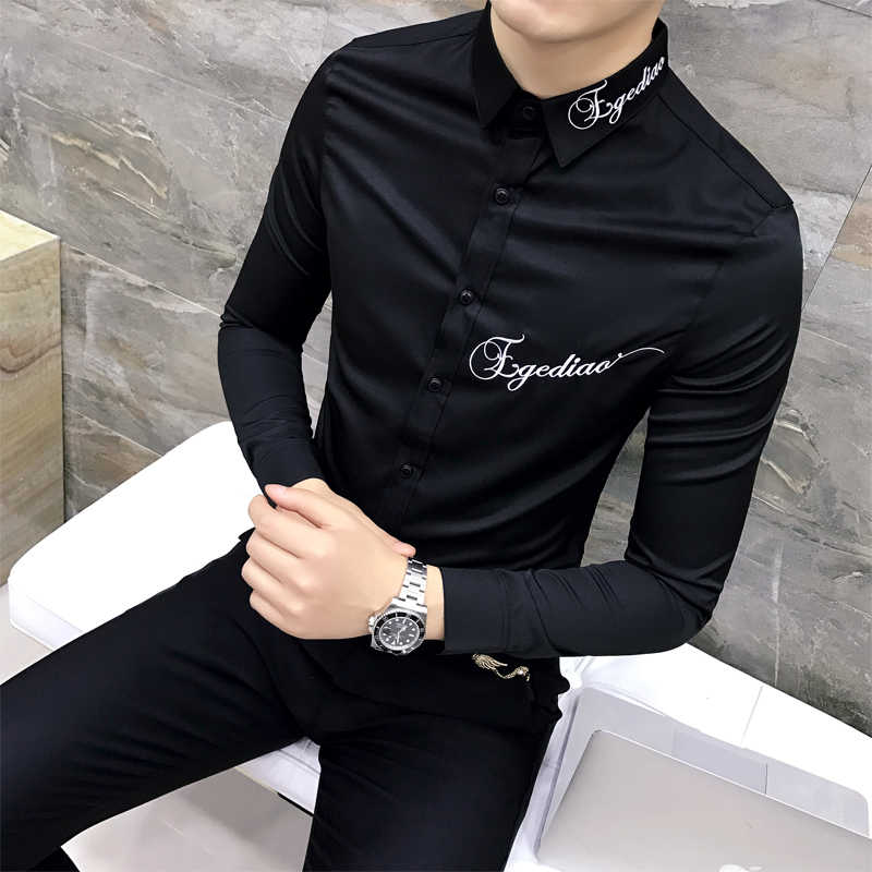 Quality Camiseta Masculina Slim Fit Long Sleeve Dress Shirt Men Embroidery Letter Black White Casual Mens Social Shirts 3XL-M