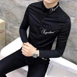 Quality Camiseta Masculina Slim Fit Long Sleeve Dress Shirt Men Embroidery Letter Black White Casual Mens Social Shirts 3XL-M