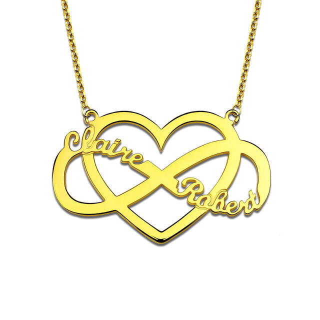 Ailin Personalized Unique Infinity And Heart Name Necklace Gold