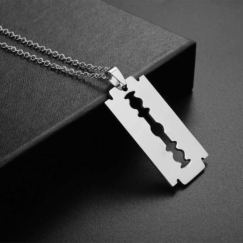 Tafree não fade lâminas de lâmina aço inoxidável pingente colares homens jóias forma shaver colares & pingente com link chain ss005