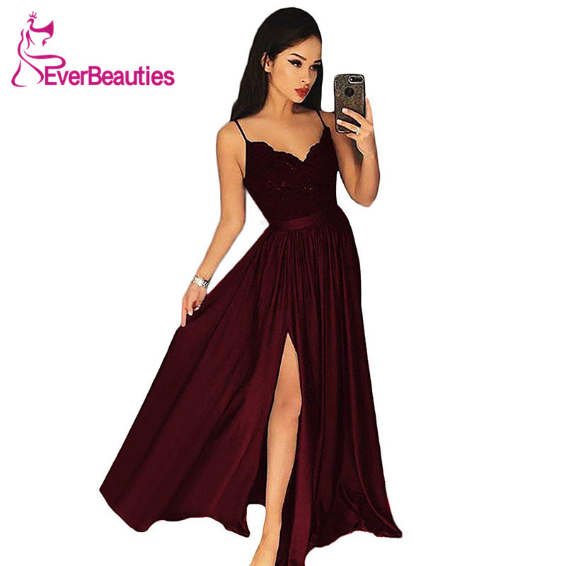 Evening Dresses Long Spaghetti Strap Lace Satin Elegant Formal Party Gowns Sexy Side Split Evening Gowns Robe De Soiree