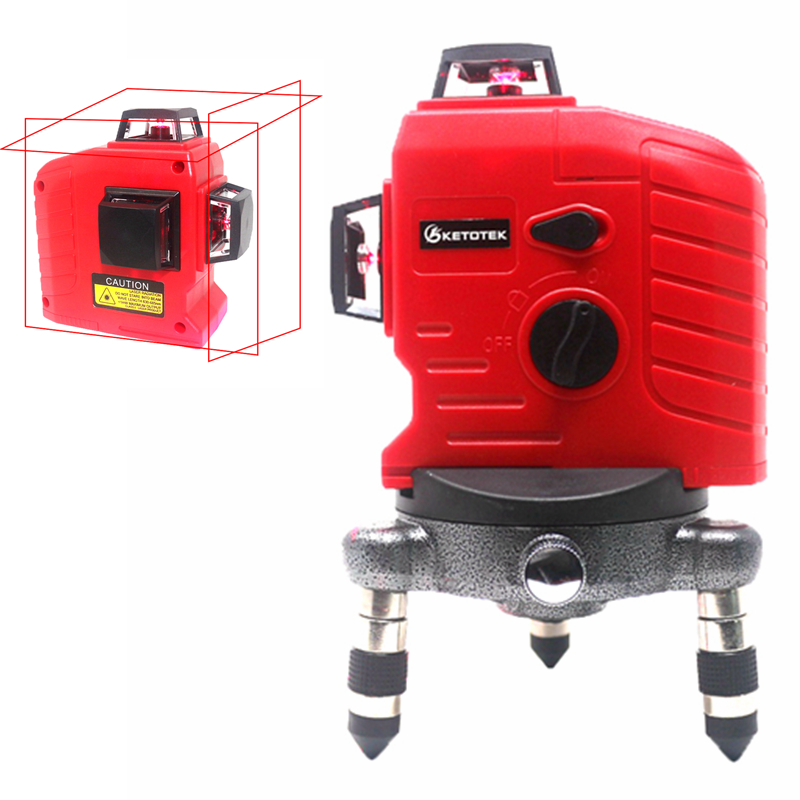 12 lines 3D Red Laser Level 360 degree Auto Self-Leveling Laser Levels Wall Meter Vertical Horizontal Laser Beam Line Tool