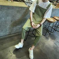 Mens Hip Hop Fashion Army Green Bib Overalls Cool Cotton Cargo Pants Designer Jumpsuit For Men
