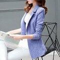 2017 Nova Moda Mulheres Blazers e Jaquetas Estilo Coreano Feminino Longo Casaco Blaser Femme plus size desgaste do trabalho Terno