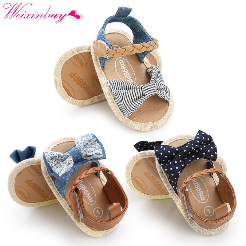 Baby Girl Sandals Baby Skor Sommar Bomull Canvas Dotted Bow Baby Girl - Bäbis skor