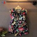 2016 Летних Девочек Одежда Устанавливает Ретро Цвет Буквы Шорты Костюм Мода Дети Цветочные Цветы детская